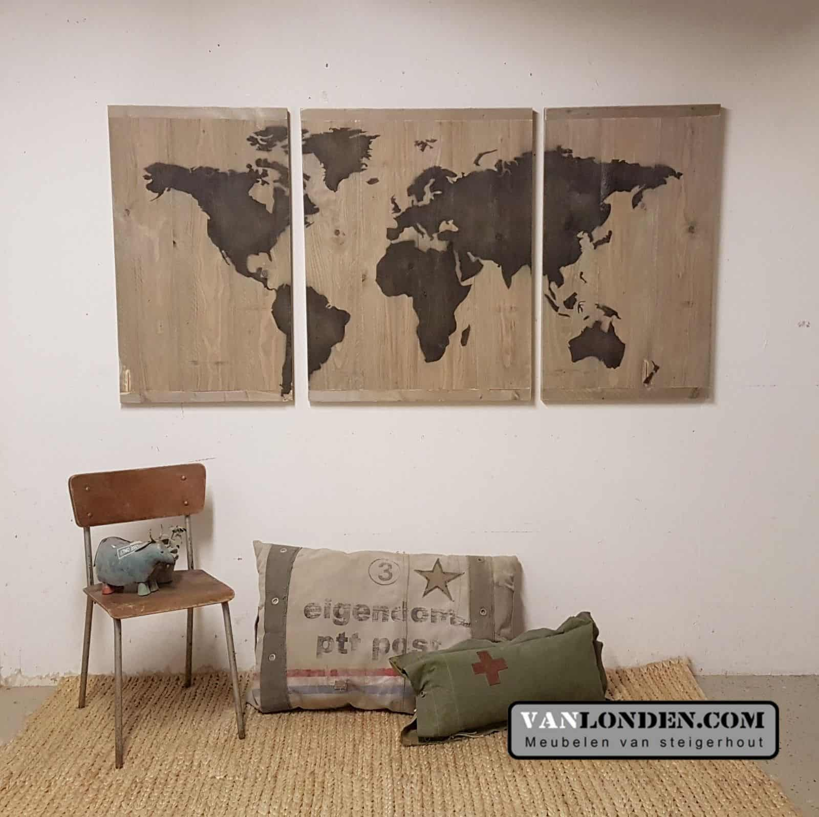 Steigerhouten 3 luik wereldkaart (Steigerhouten accessoires online bestellen)