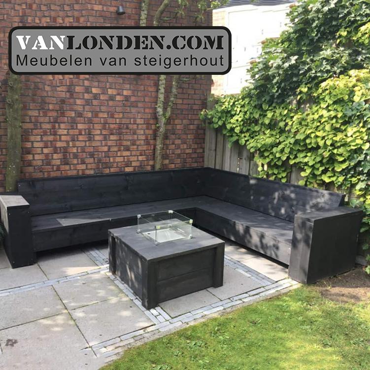 Hoekbank Lounge Steigerhout.Blackwash Steigerhouten Hoekbank Ferdi