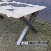 Steigerhouten bureau tafel met wereldkaart Nienke (Steigerhouten eettafels online bestellen)