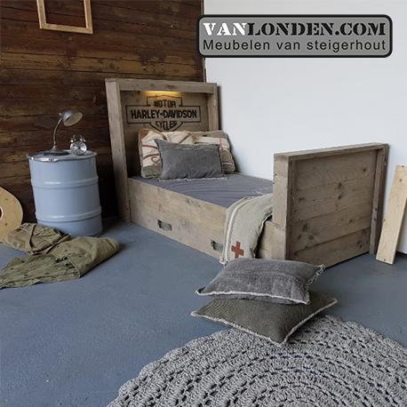 Iets Nieuws Steigerhouten Harley Davidson bed met lades - VanLonden Steigerhout @FF73