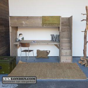 Steigerhouten hoogslaper met bureau Lindsey (Steigerhouten kinderbedden online bestellen)