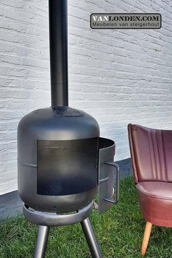 Outdoor houtkachel van dikbuik gasflessen (Steigerhouten meubelen voor outdoor)