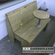 Steigerhouten balkonbankje met tafel Sjors (Actieve steigerhouten zitbanken bestellen)