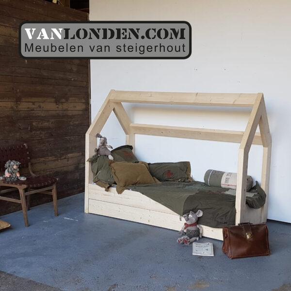 Steigerhouten bed met lades muis (Steigerhouten kinderbedden online bestellen)