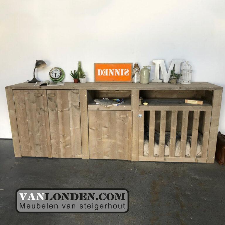 Steigerhouten dressoir met bench Viggo (Steigerhouten TV-meubels op maat)