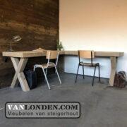 Steigerhouten hoekbureau Wout (Steigerhouten bureaus op maat gemaakt)