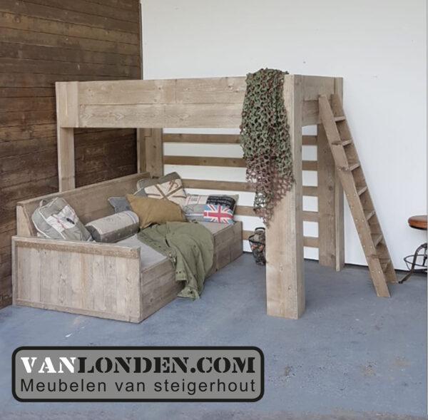 Steigerhouten bed bank combinatie Mikki (Steigerhouten eenpersoonsbedden bestel je online bij VanLonden)