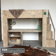 Steigerhouten hoogslaper met bureau Rowie (Steigerhouten kinderbedden online bestellen)
