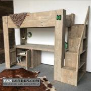 Steigerhouten hoogslaper bureau en trap Rowie trapkast