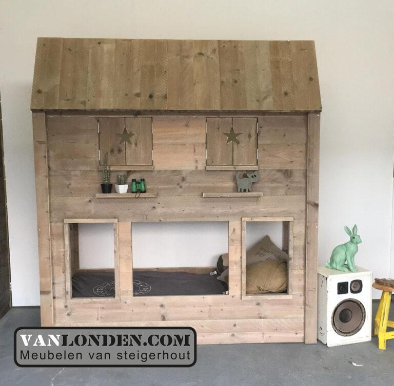 Steigerhouten hoogslaper huisje Marloes (Steigerhouten kinderbedden online bestellen)