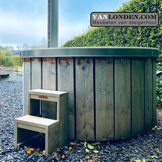 Steigerhouten  hottub trapje Ben (Steigerhouten accessoires online bestellen)