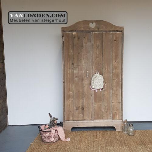 Steigerhouten hang- en legkast Marieke (Steigerhouten kledingkasten online bestellen)