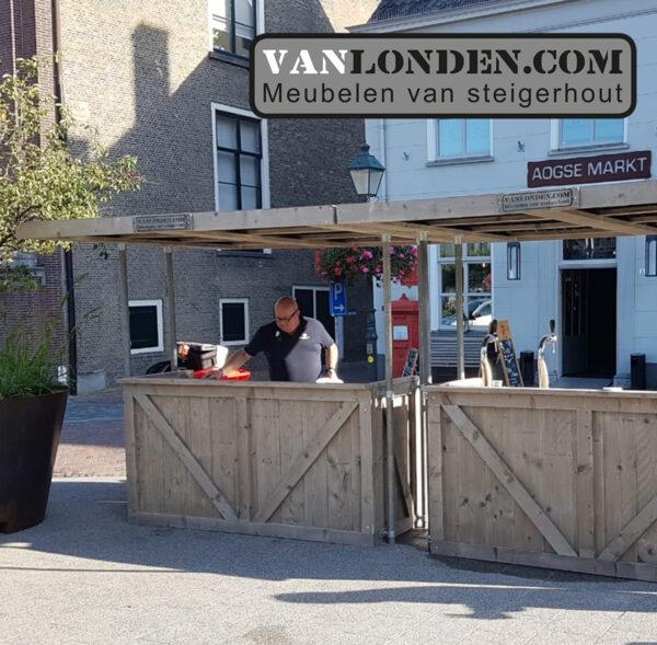 Steigerhouten ombouw flexibele bar met dak (Steigerhouten meubelen voor outdoor)