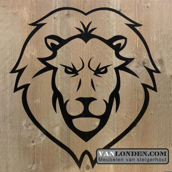 Steigerhouten paneel opdruk leeuw (Houten dierenkoppen online bestellen)