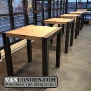 Steigerhouten sta tafels metalen poten Yonego