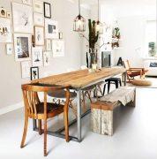 Steigerhouten tafel Fiene met stalen onderstel (Steigerhouten eettafels online bestellen)