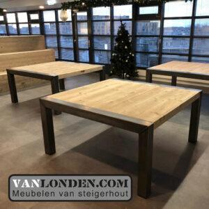 Steigerhouten tafels en trapbank Yonego