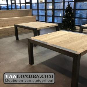 Steigerhouten tafels en trapbanken Yonego