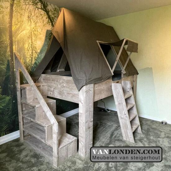 Steigerhouten tentbed Jochem (Steigerhouten kinderbedden online bestellen)