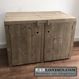 Steigerhouten wasmachine ombouw deurtjes Marjo (Opbergmeubels online bestellen)