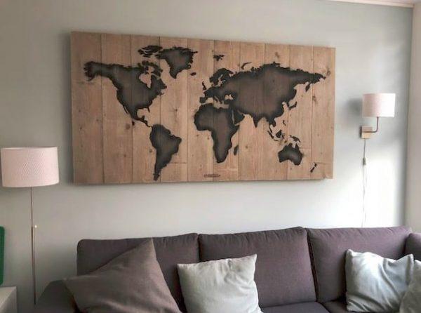 Steigerhouten wereldkaart panelen (Steigerhouten accessoires online bestellen)