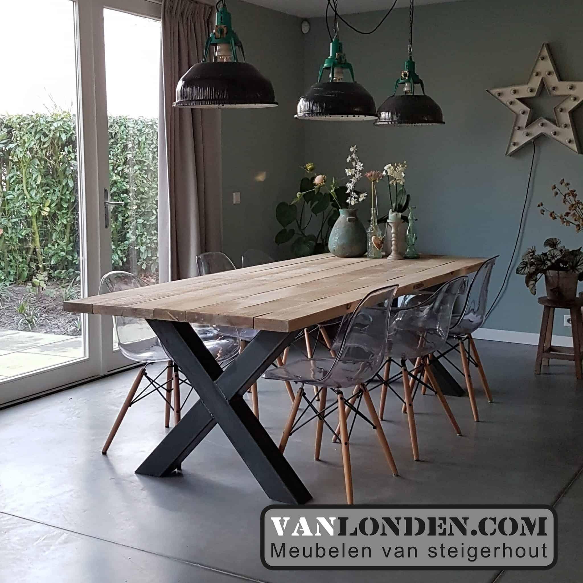 Tafel van balk planken Remco (Steigerhouten eettafels online bestellen)