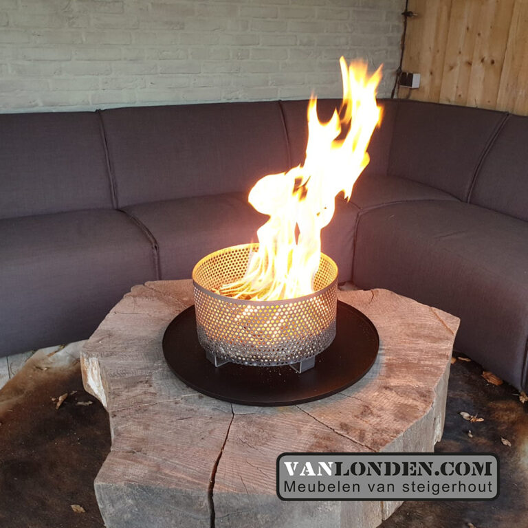 Vuurkorf pelletmand  met onderschaal Kyan (Steigerhouten vuurtafels bestellen)