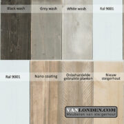 whitewash, greywash, blackwash afwerkingen (Doe het zelf met onze steigerhouten producten)