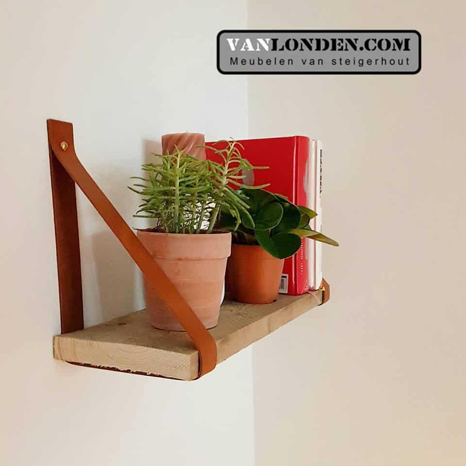 Leren plankendragers (Steigerhouten accessoires online bestellen)