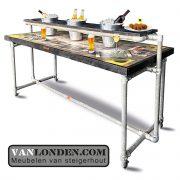 Steigerhouten Foto print VIP tafel op wielen (Steigerhouten eettafels online bestellen)