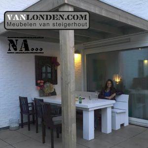 Overkapping Steigerhout Noud (Onze splinternieuwe meubelen op een rij)