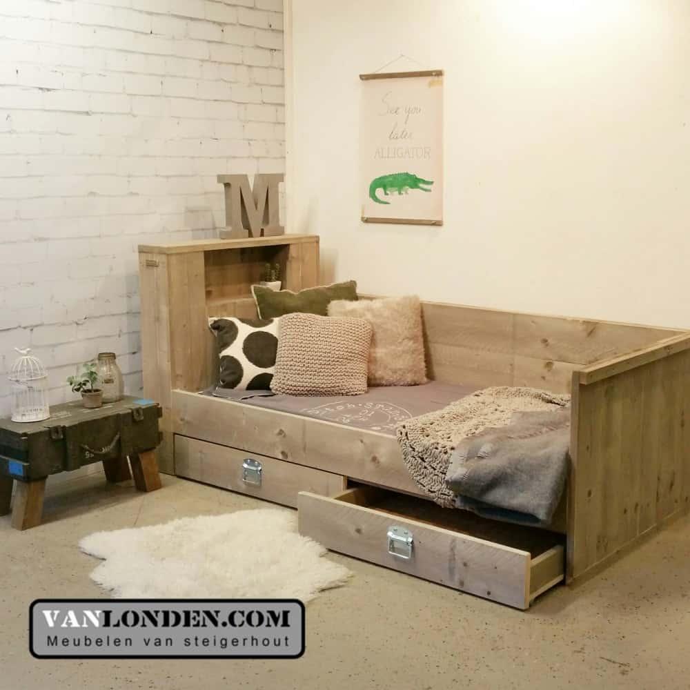 Steigerhouten bedbank met lades Joas (Steigerhouten kinderbedden online bestellen)