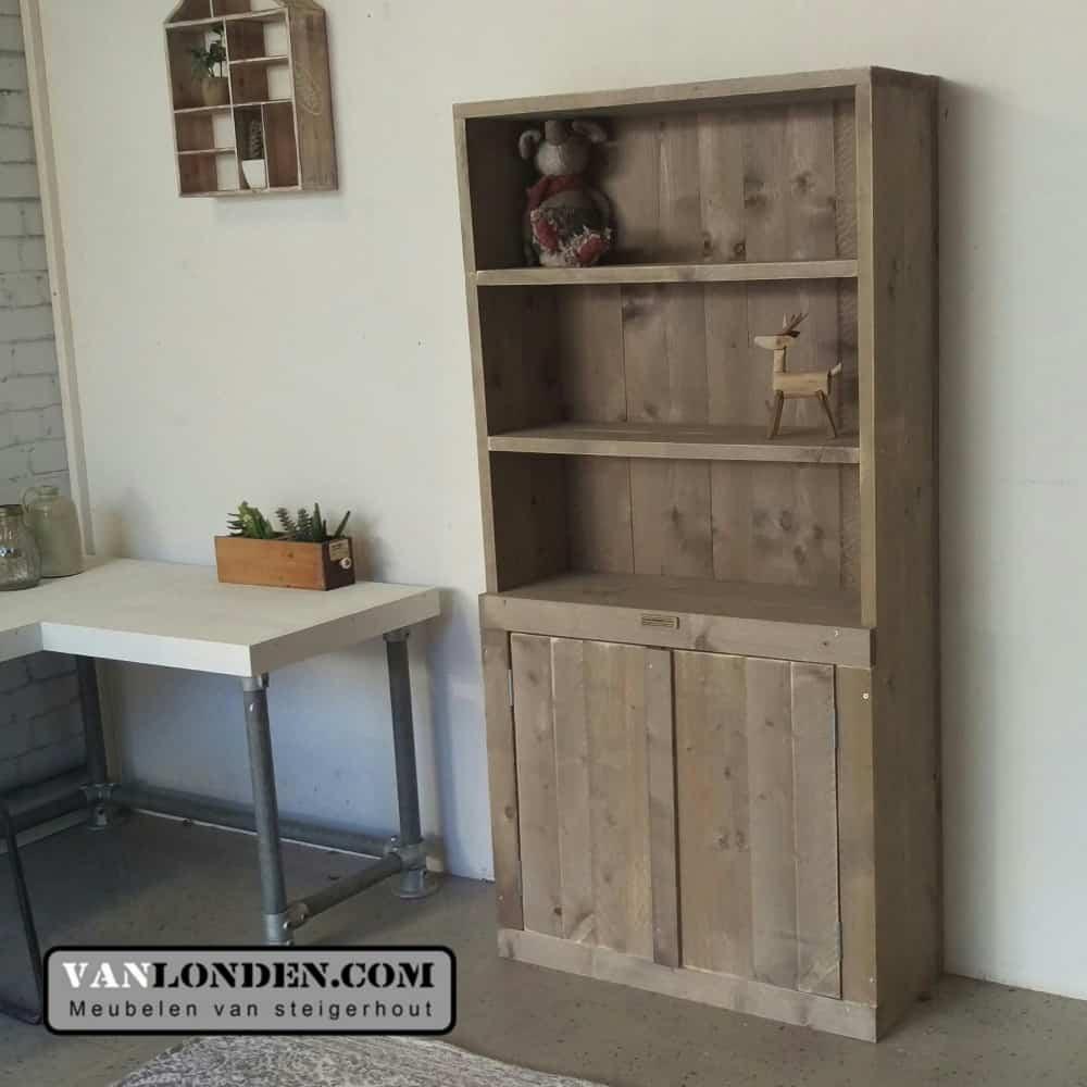 Steigerhouten boekenkast bo vanlonden steigerhout for Boekenkast steigerhout