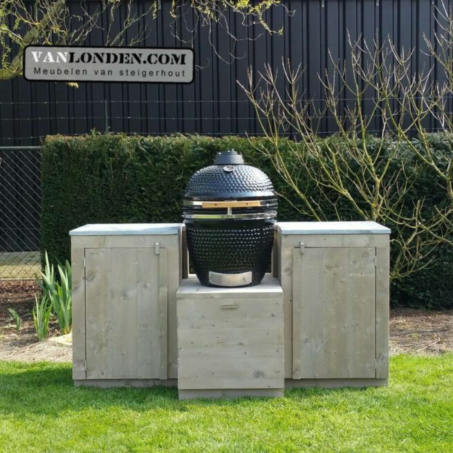 Steigerhouten buitenkeuken zonder Kamado BBQ Paul (Big Green Egg online bestellen)