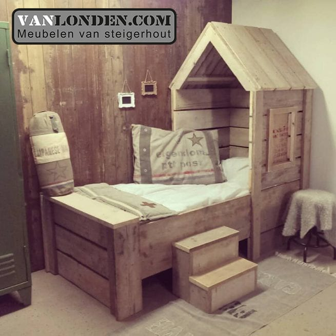 Kinderbed Met Extra Bed.Steigerhouten Kinderbedden Vanlonden Steigerhout