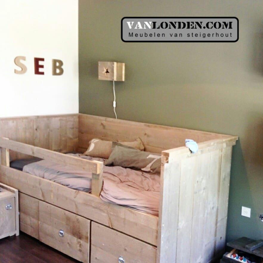 Beroemd Steigerhouten kinderbed met lades Benno - VanLonden Steigerhout #BV01