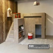 Steigerhouten kinderbed Jelte (trap links)