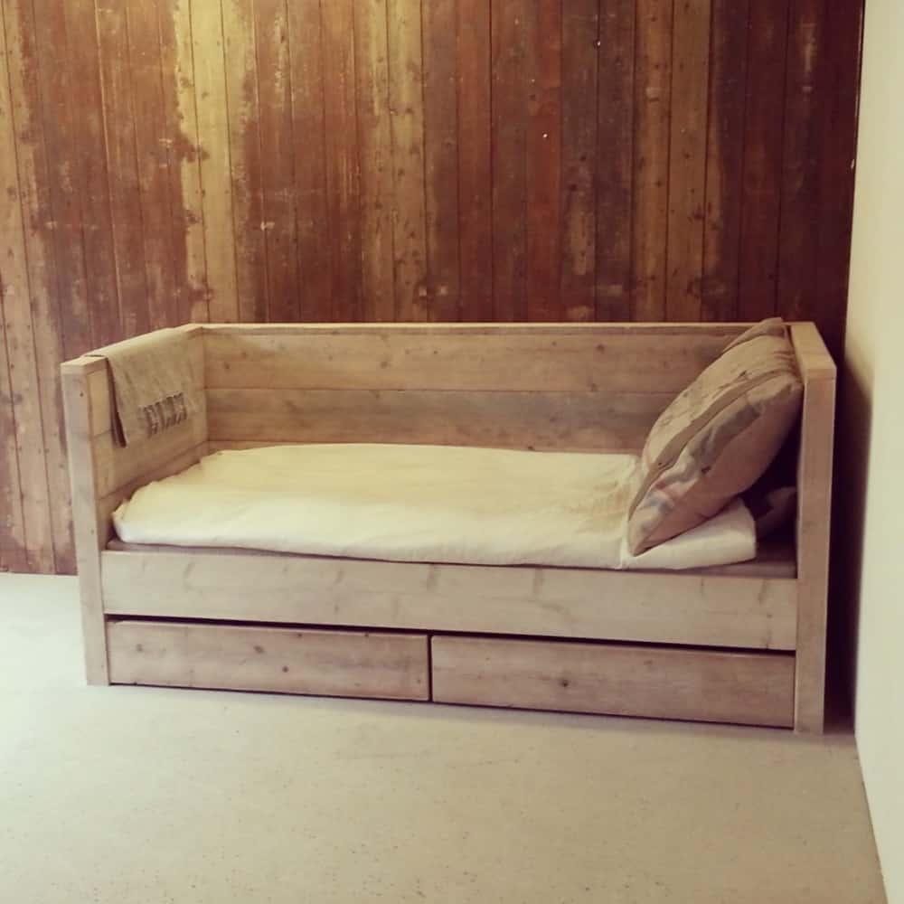 Steigerhouten bedbank Milo (Steigerhouten kinderbedden online bestellen)