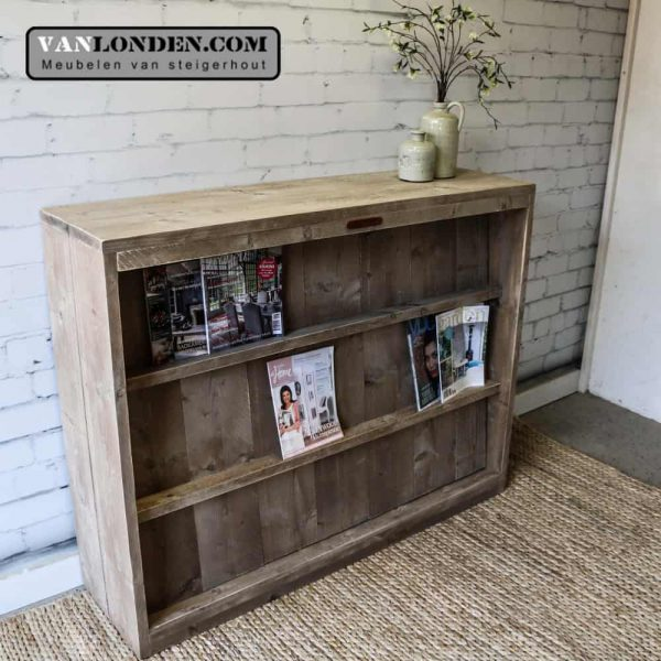 Steigerhouten tijdschriftenkast/ roomdivider Jerome (Bestel steigerhouten archiefkasten)