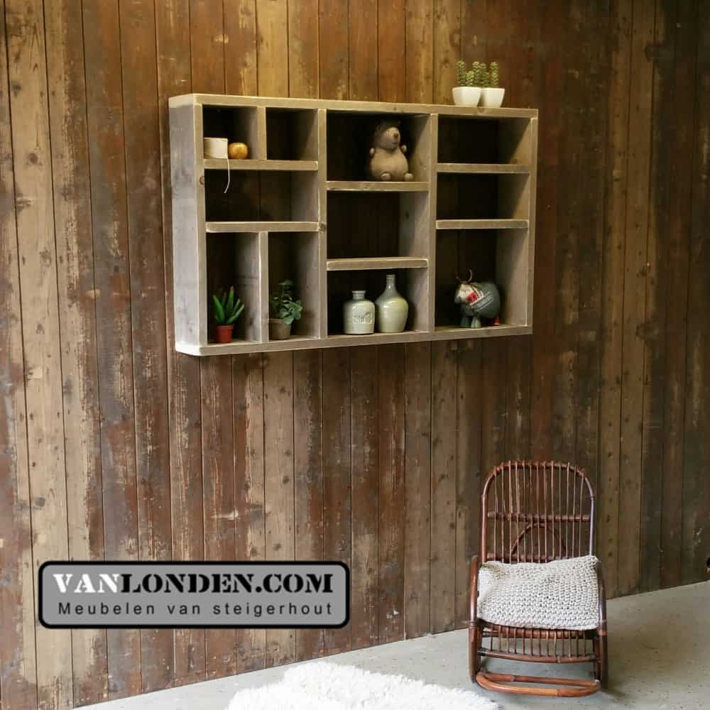 Steigerhouten vakkenkast Lieve (Steigerhouten accessoires online bestellen)