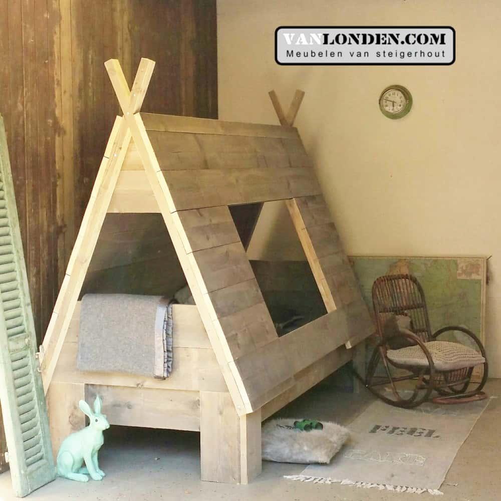 Steigerhouten tentbed Hiawatha (Steigerhouten kinderbedden online bestellen)