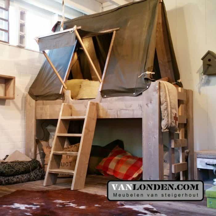 Steigerhouten tentbed tommy vanlonden steigerhout - Midden kamer trap ...