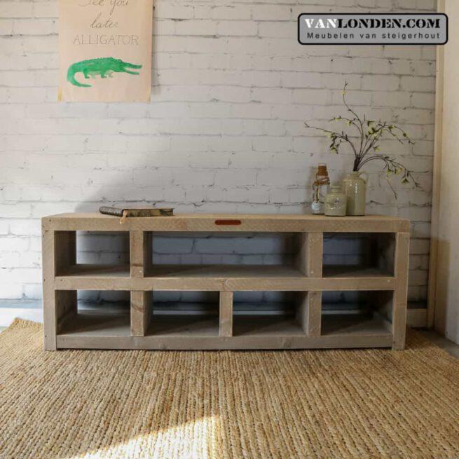 Steigerhouten tv-meubel met vakken Jasmijn (Diverse steigerhouten kasten bestellen)