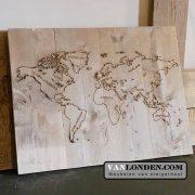 Steigerhouten paneel met wereldkaart (Steigerhouten accessoires online bestellen)