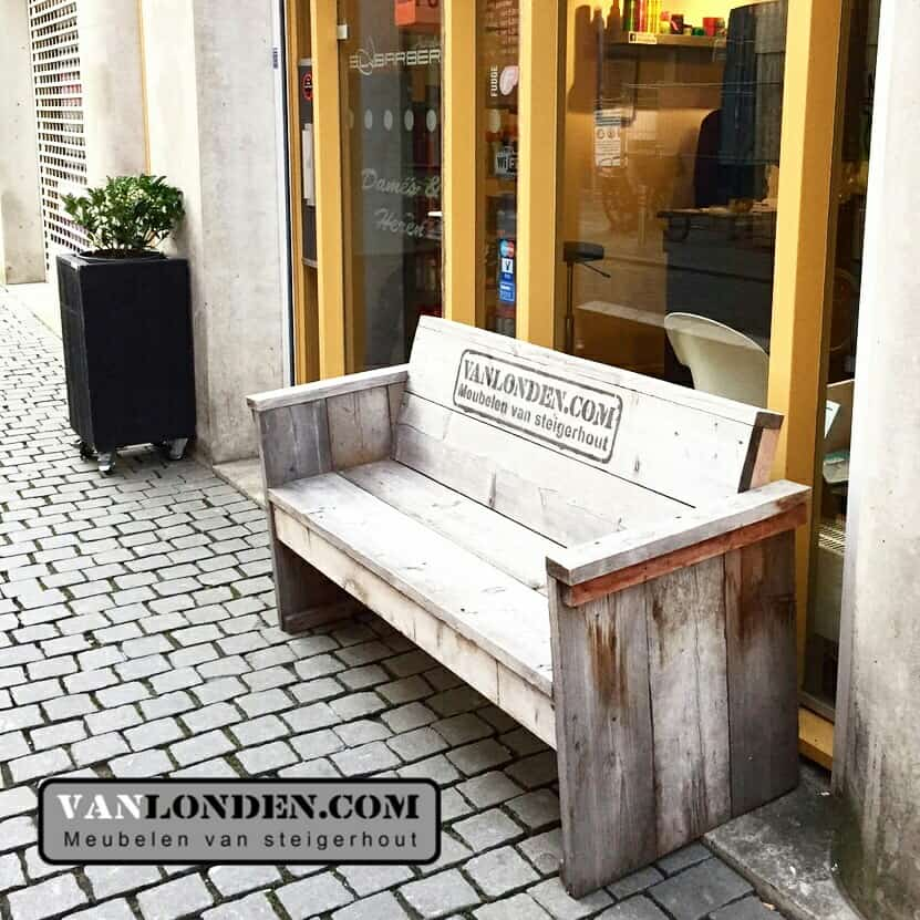 Steigerhouten zitbank sylvie vanlonden steigerhout for Zitbank steigerhout