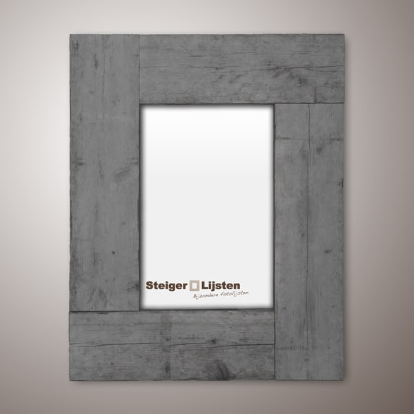 Steigerlijst grey wash breed (Brede fotolijsten van steigerhout online bestellen)