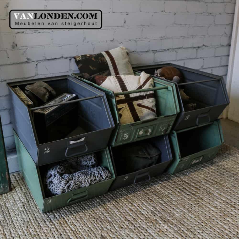 Vintage stalen stapelbakken Mitchel (Opbergmeubels online bestellen)